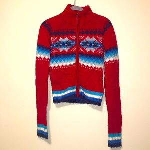 Nordic Knits Hollister fair Isle Zip Sweater Cardi